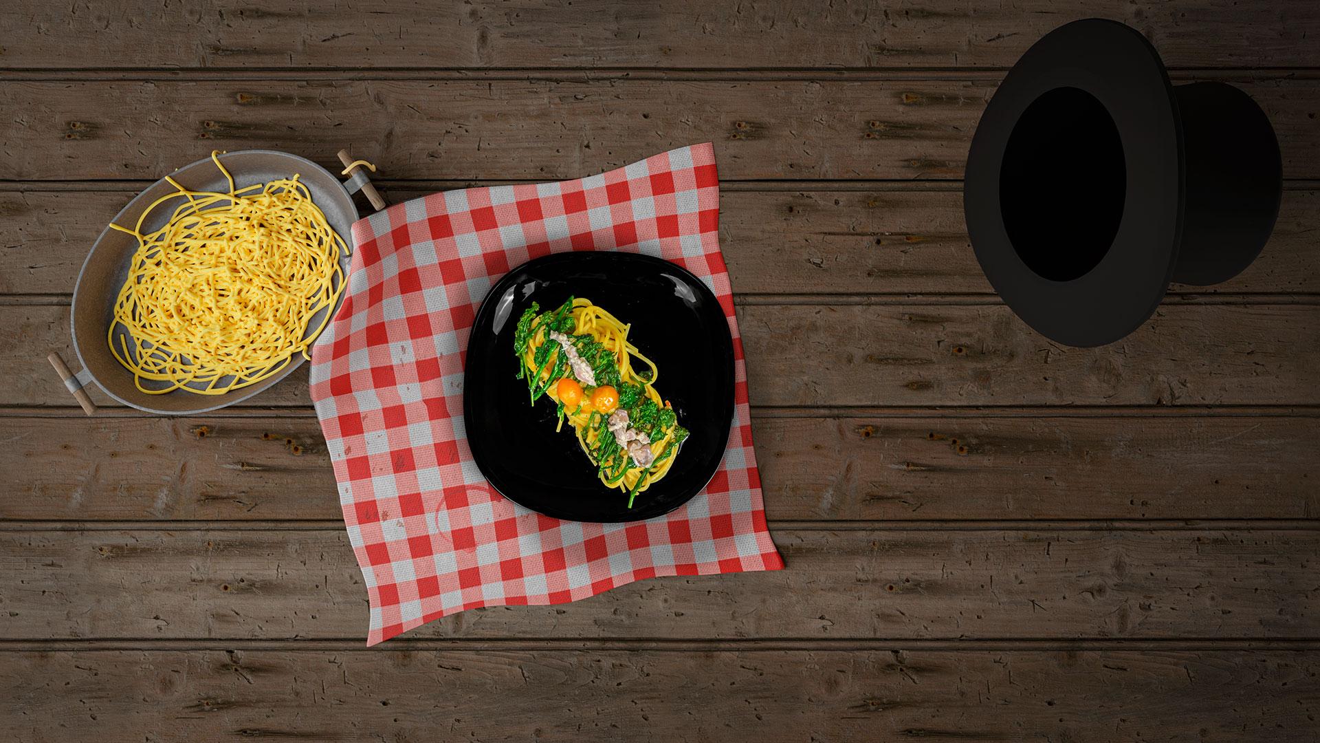 Miseria e Nobiltà: Spaghetti con Sugo all'Arrabbiata di Datterino Giallo, broccoli e sgombro