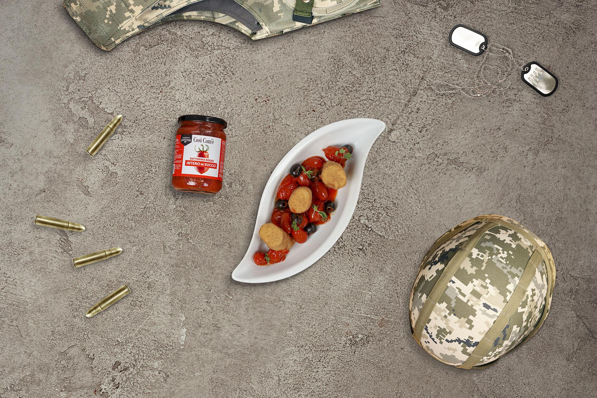 Full Metal Jacket: Paccheri fritti con Datterino Rosso, baccalà e patate