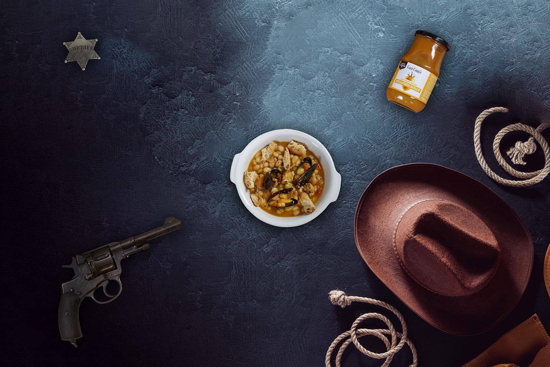 Lo chiamavano Trinità: Fagioli e cozze con vellutata dolce di Datterino giallo
